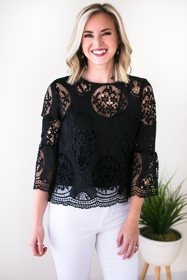 Tops Well Dressed Lace Bell Sleeve Top - Lotus Boutique