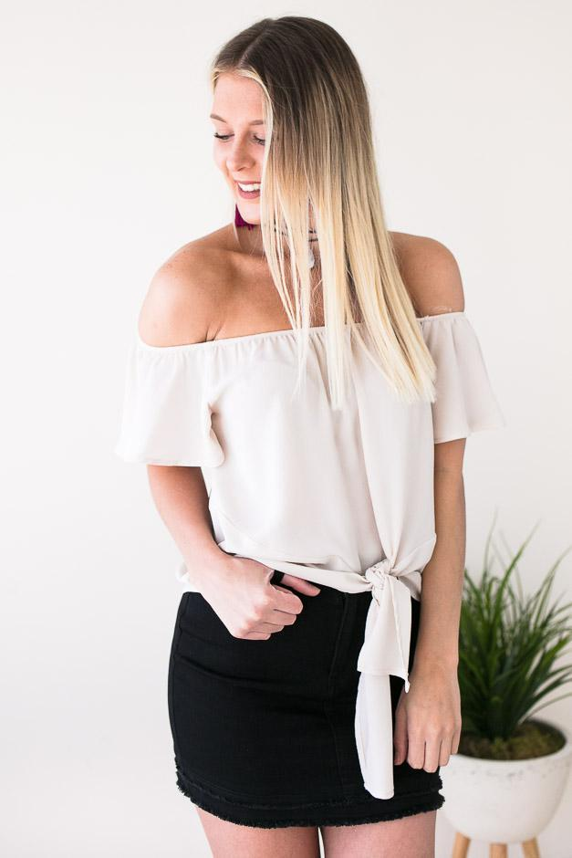 7137e44e0771f Tops Solo Tie Front Off the Shoulder Top - Lotus Boutique