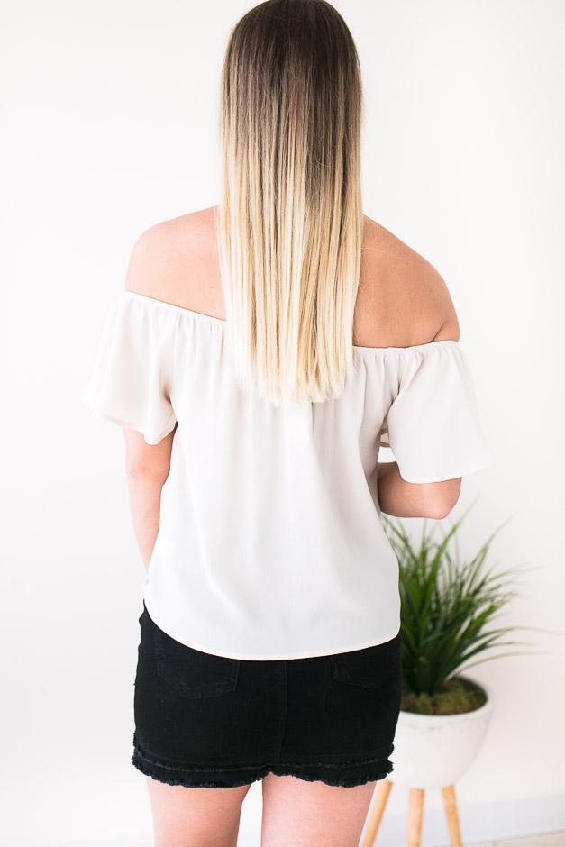 Adorable Cream Off Shoulder Top With Tie Front Detail