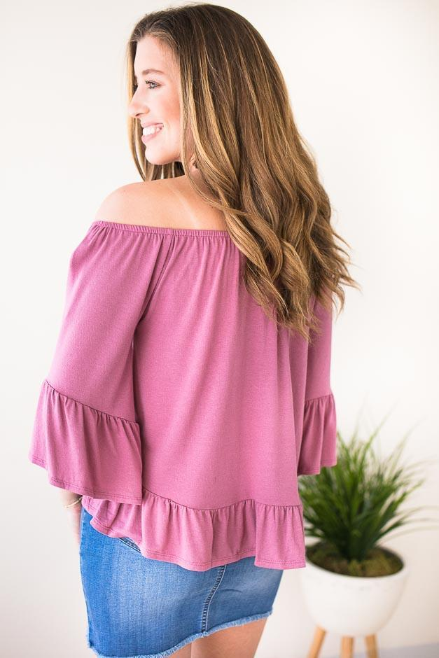 Mauve Off Shoulder Top With Ruffle Hem And Sleeve
