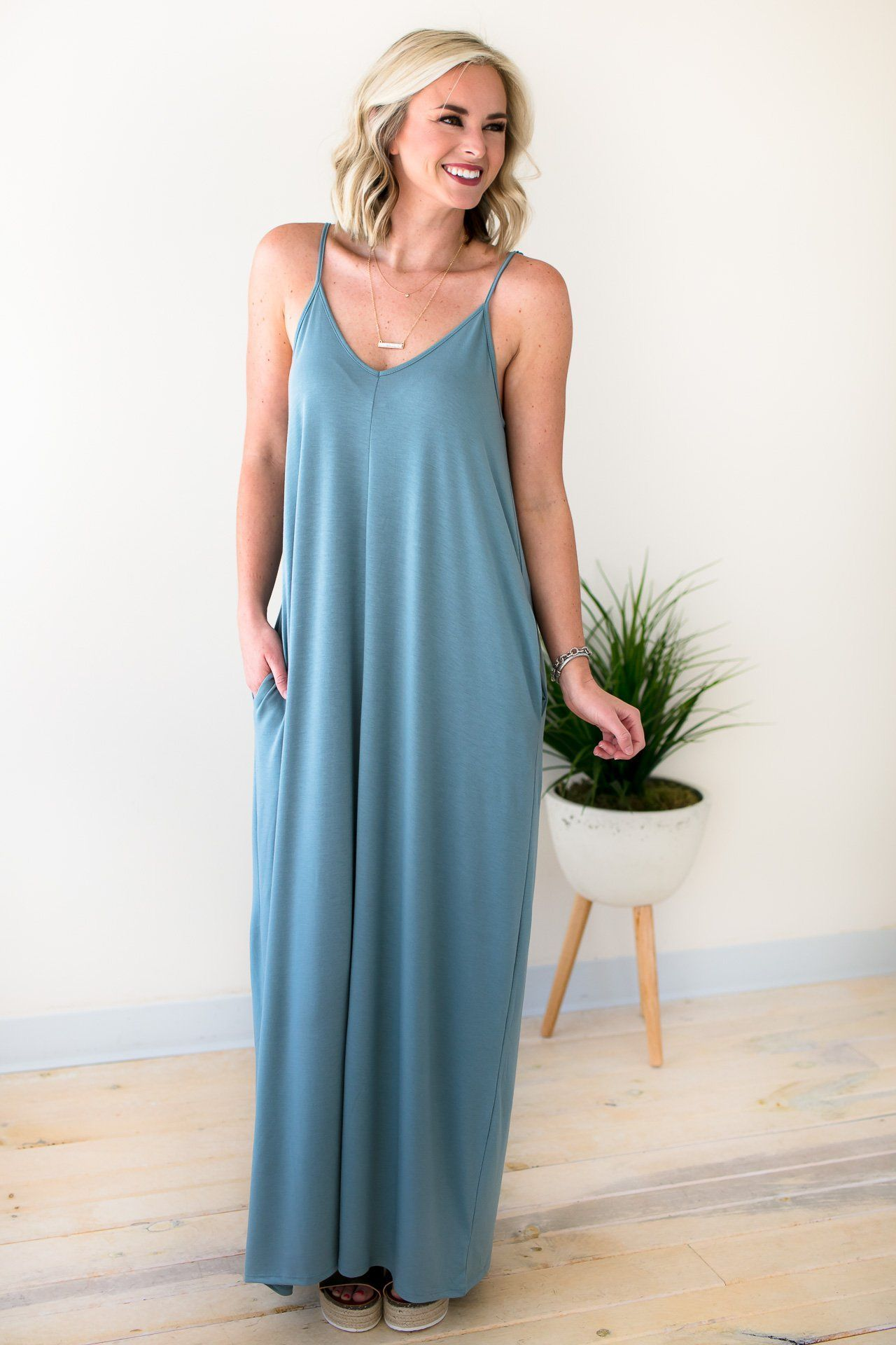Flattering And Comfy Blue Tank Style Pocket Maxi Dress – Lotus Boutique