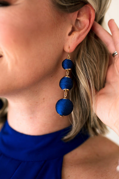 Beautiful Royal Blue Three Ball Drop Earrings
