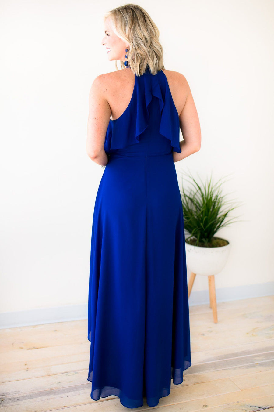 Gorgeous Royal Blue Halter Neck High Low Dress