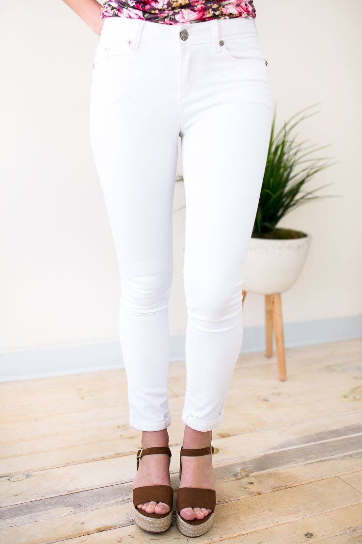Flattering White Skinny Jeans With Cuffed Hem