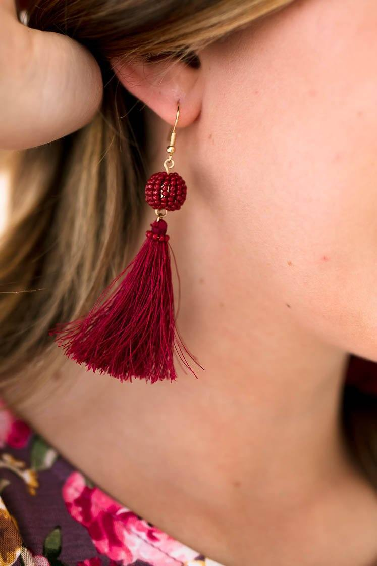 Accessories Cherry Bomb Tassel Earrings - Lotus Boutique