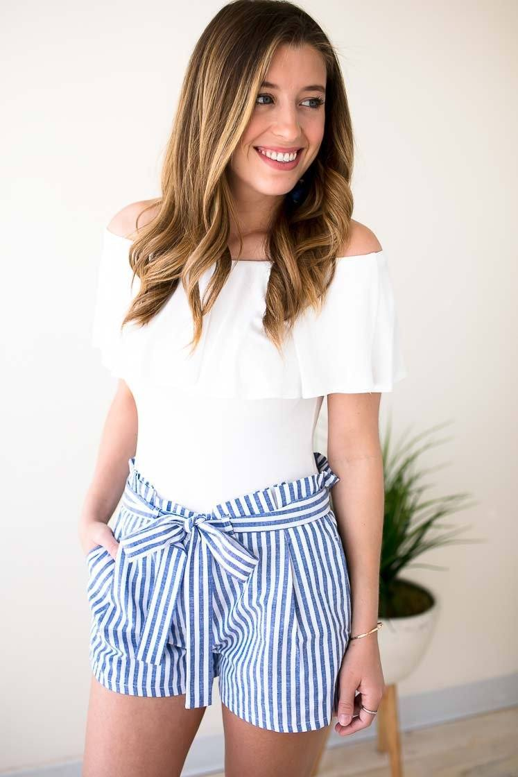 Blue Stripe Shorts With Ruffle Waist And Tie