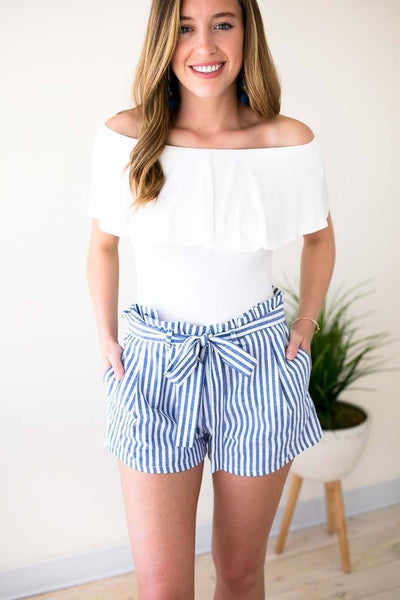 Ruffle Waist Blue Stripe Shorts With Tie