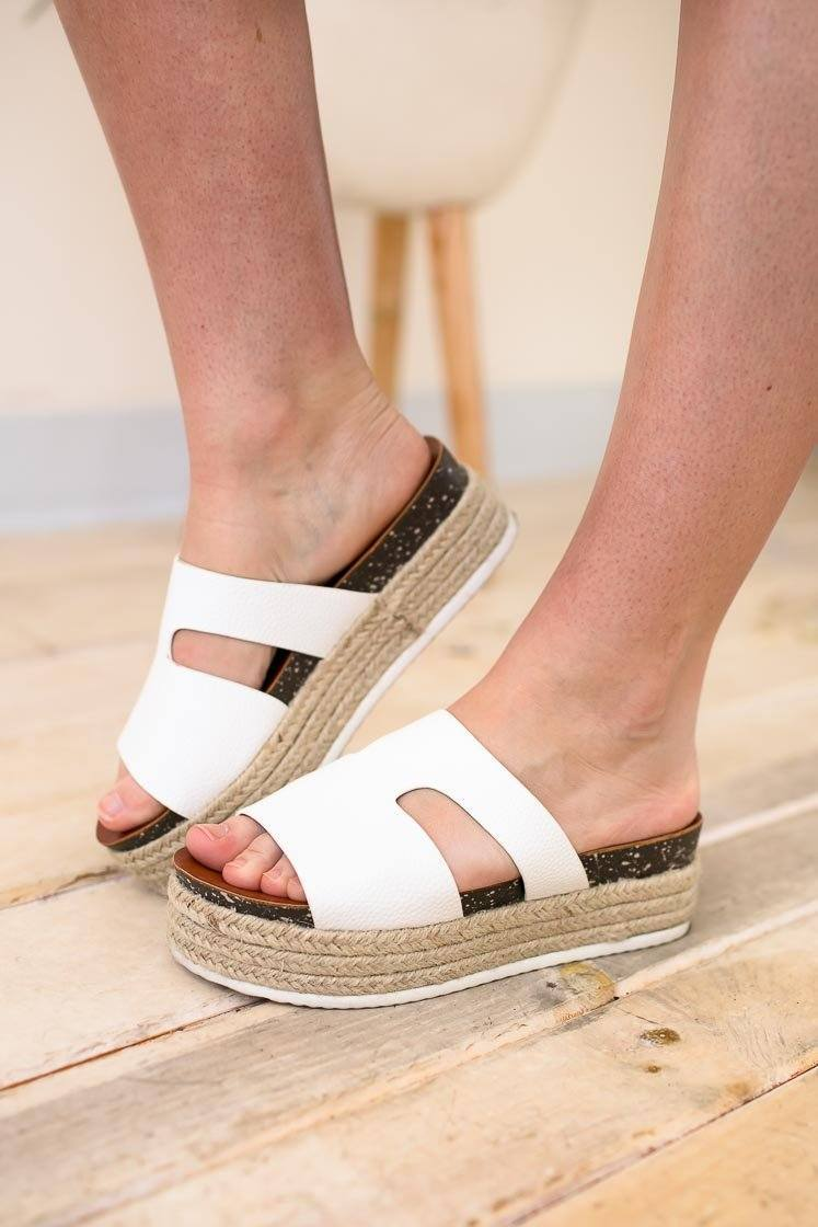 Monaco Cut Out White Platform Slides