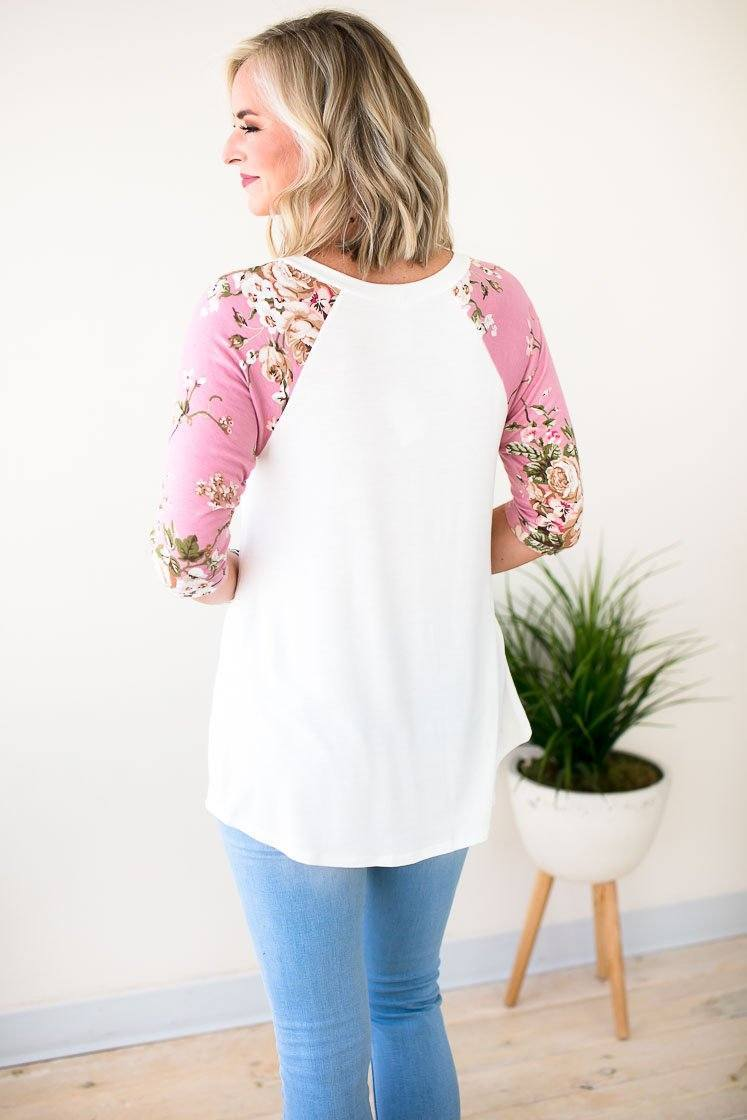 Tops For You Raglan Tee with Floral Sleeves - Lotus Boutique