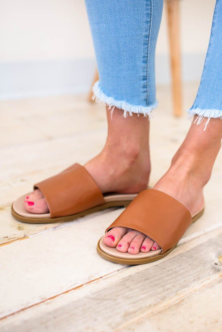 Shoes Ivy Camel Slide Sandals - Lotus Boutique