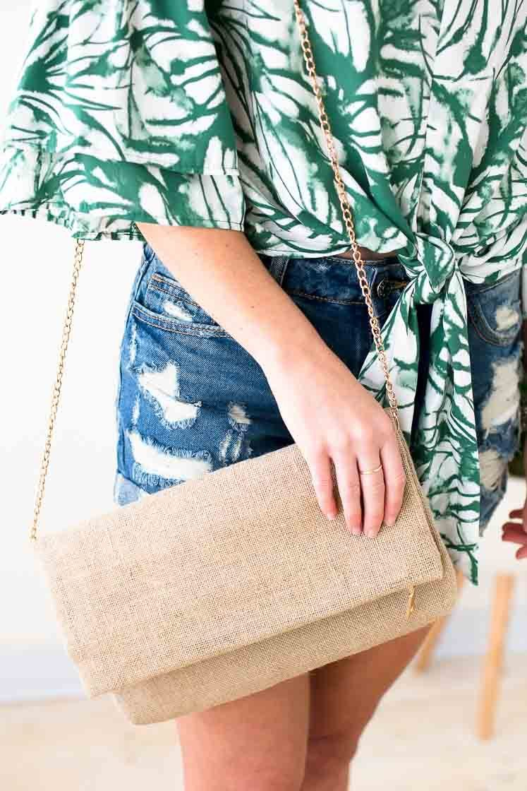 Accessories Anytime Fold Over Burlap Clutch - Lotus Boutique