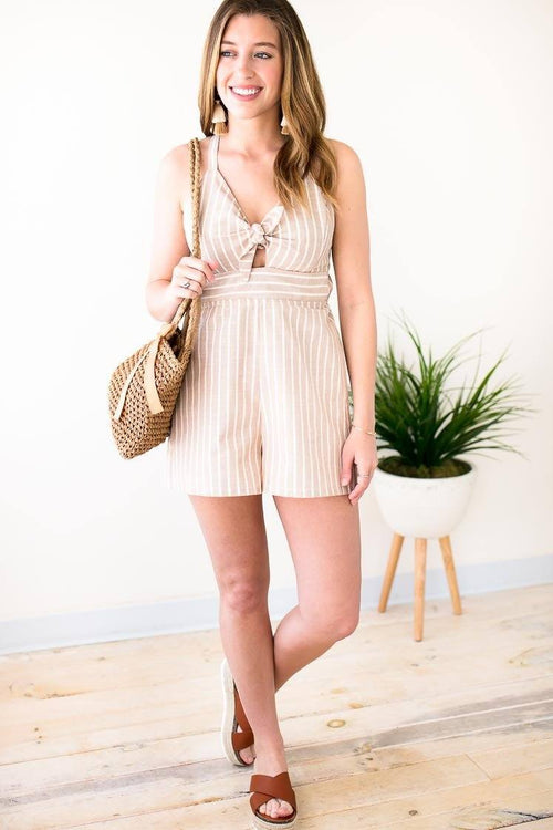 Summer Taupe Stripe Tie Front Romper