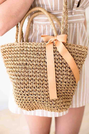 Bow Detail Tan Basket Purse