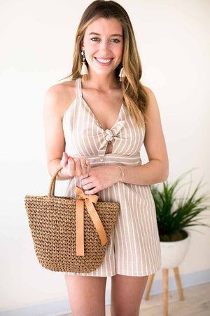 Cute Tan Basket Style Purse With Bow Detail