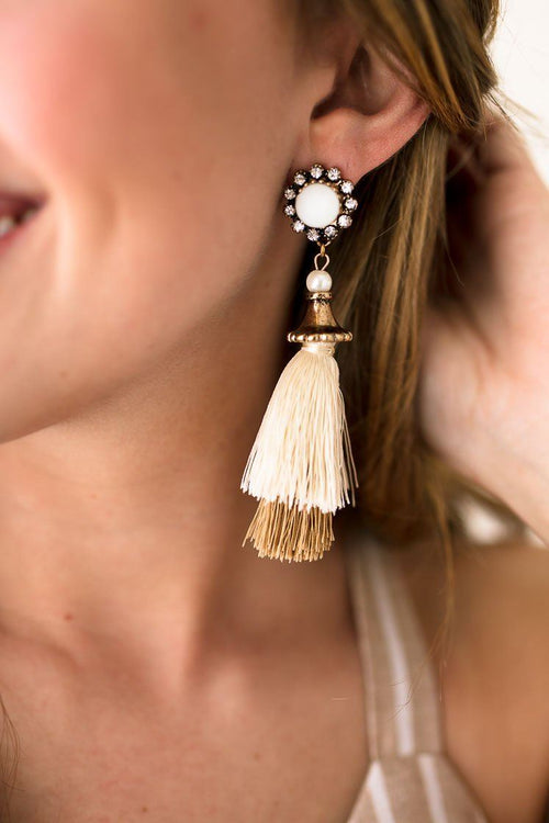 Statement Tassel Neutral Color Earrings