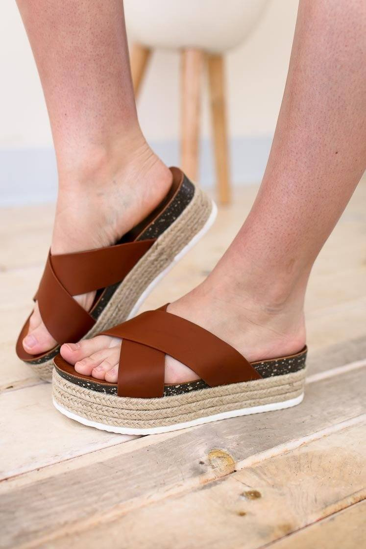 Adorable Tan Espadrille Platform Sandals