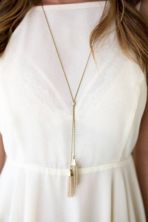 Double Ivory Tassel Necklace