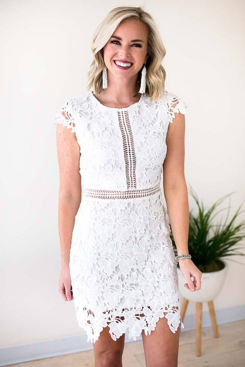 Distressed Vintage White Lace Dresses