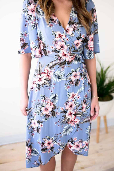 Blue Floral Wrap Dress With Fun, Wide Sleeves