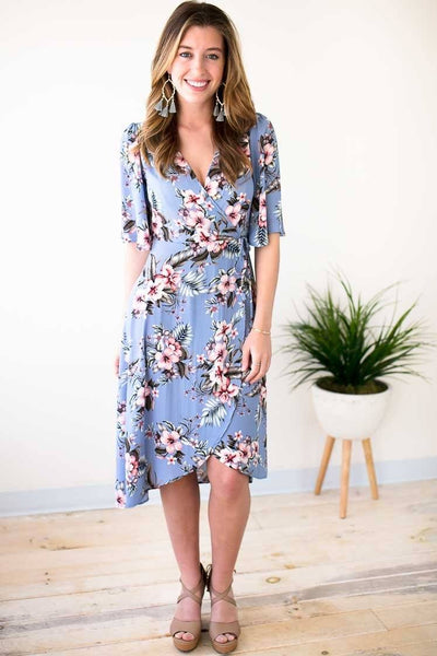 Blue Floral Wrap Dress With Wide Sleeves