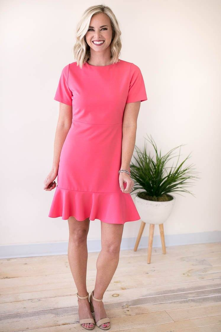 Dresses Start Things New Ruffle Hem Dress - Watermelon - Lotus Boutique
