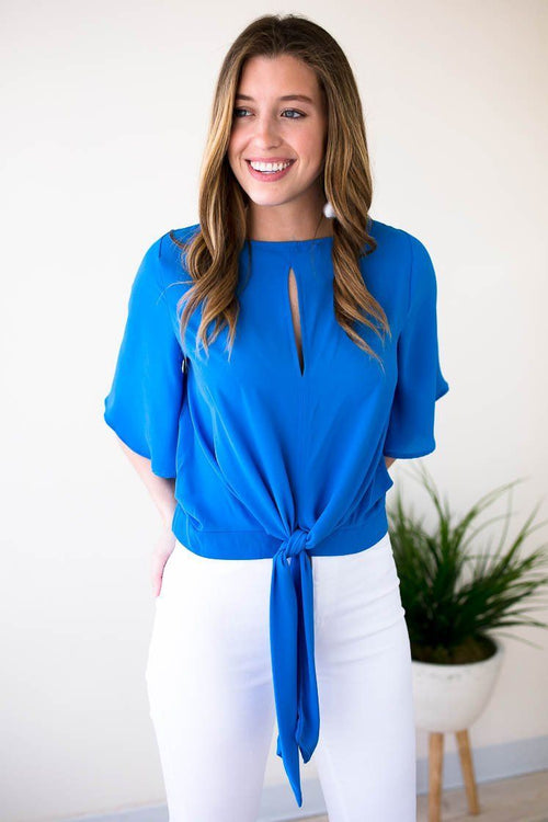 Bright Blue Tie Front Top