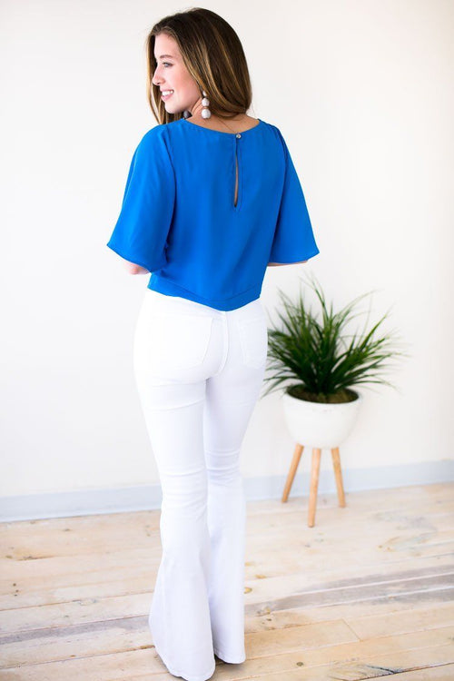 Tie Front Blue Top With Wide Sleeves