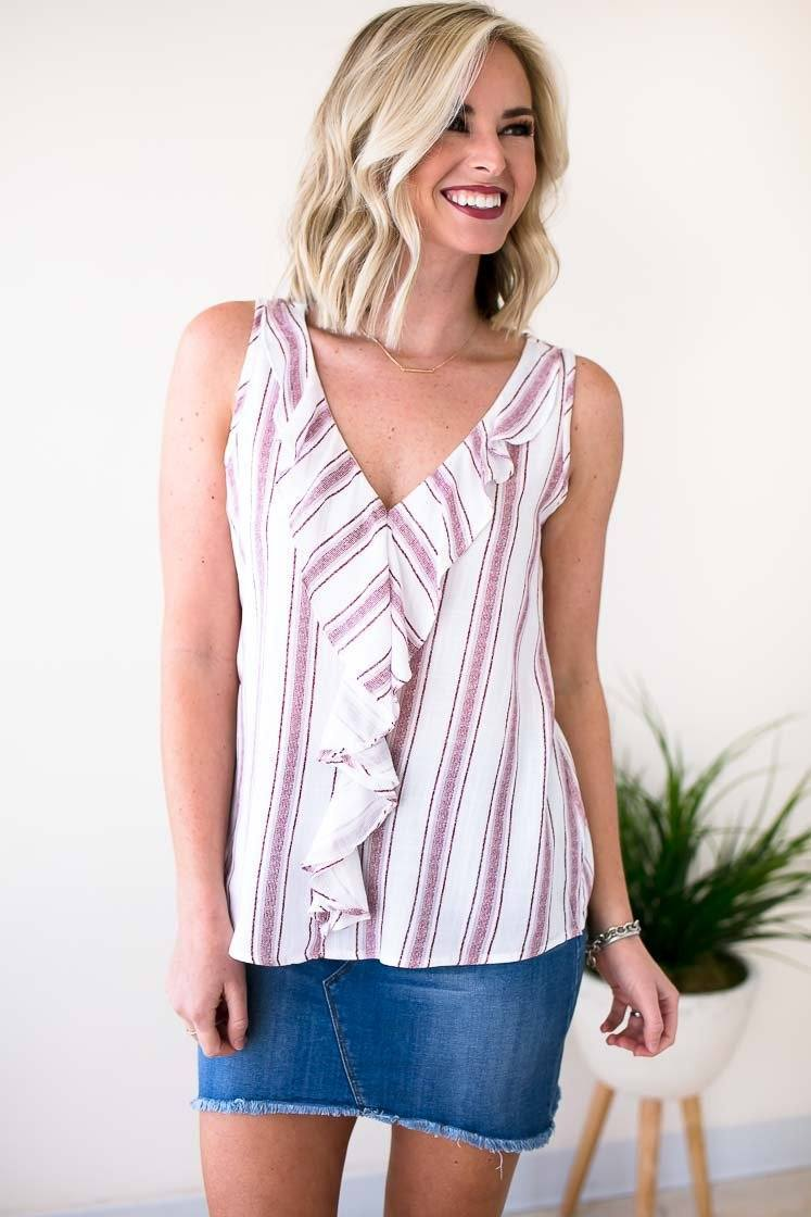 Adorable Red Stripe Ruffle Detail Tank Top