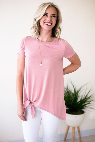 Tops Cute Stuff Knot Front Taupe Tee - Lotus Boutique