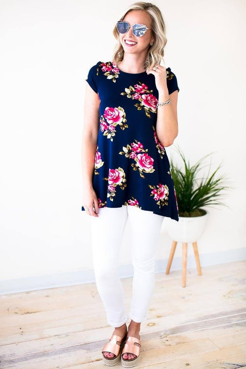 Floral Print Tunic With Pocktes
