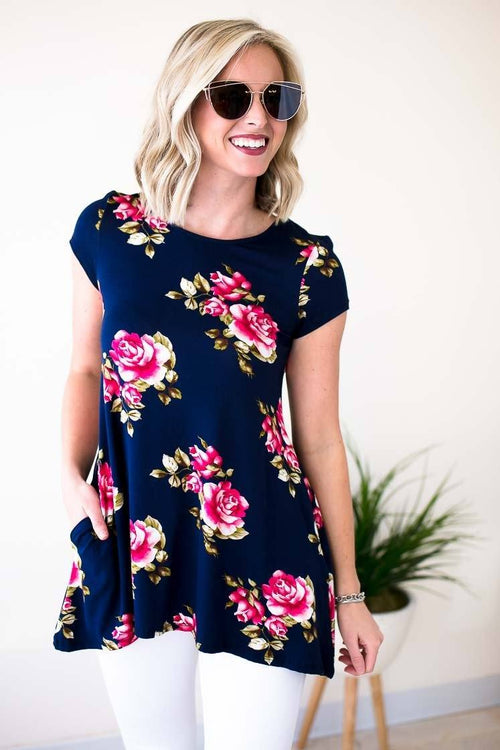 Navy Floral Print Pocket Tunic