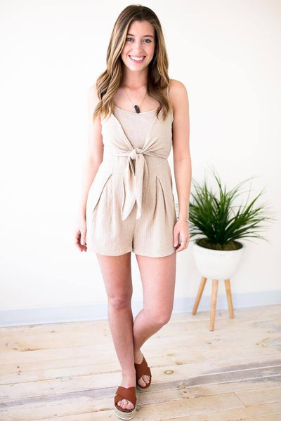 Great Fitting Khaki Tie Front Detail Romper