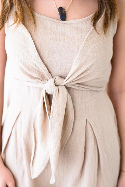 So Trendy Tie Front Detail Khaki Romper