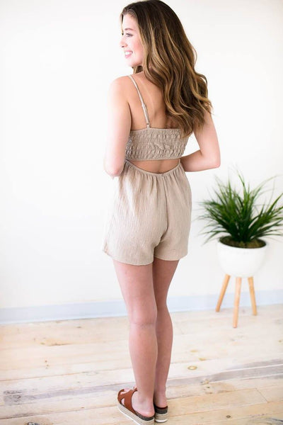 Perfect Khaki Tie Front Open Back Romper