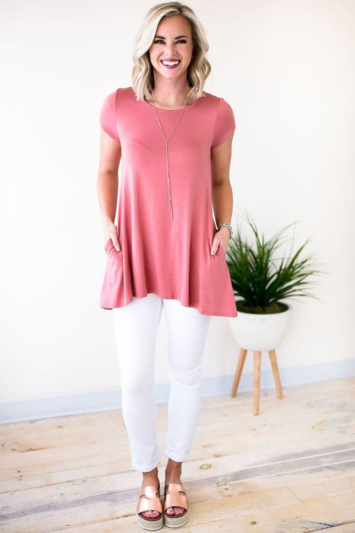 Dusty Rose Short Sleeve Tunic With Pockets