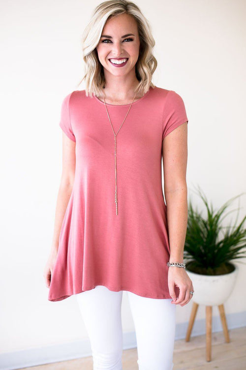 Deep Rose Color Tunic With Pockets