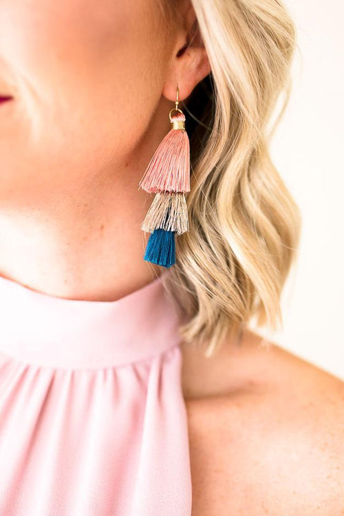 Multi Color Layered Tassel Earrings