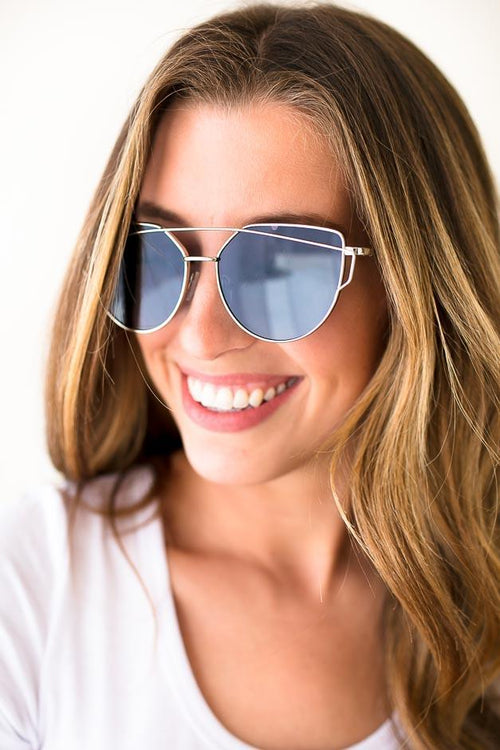Large Frame Cross Bar Sunglasses