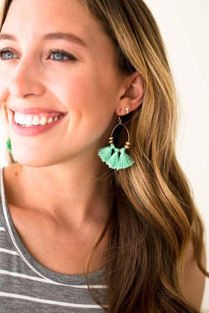 Green Tassel Detail Earrings
