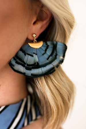 Fanned Feather Blue Earrings