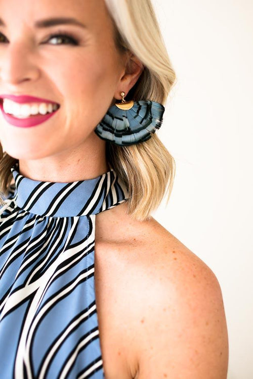 Blue Fan Feather Earrings