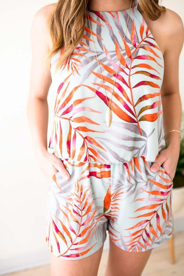 High Neck Tropic Romper With Pockets