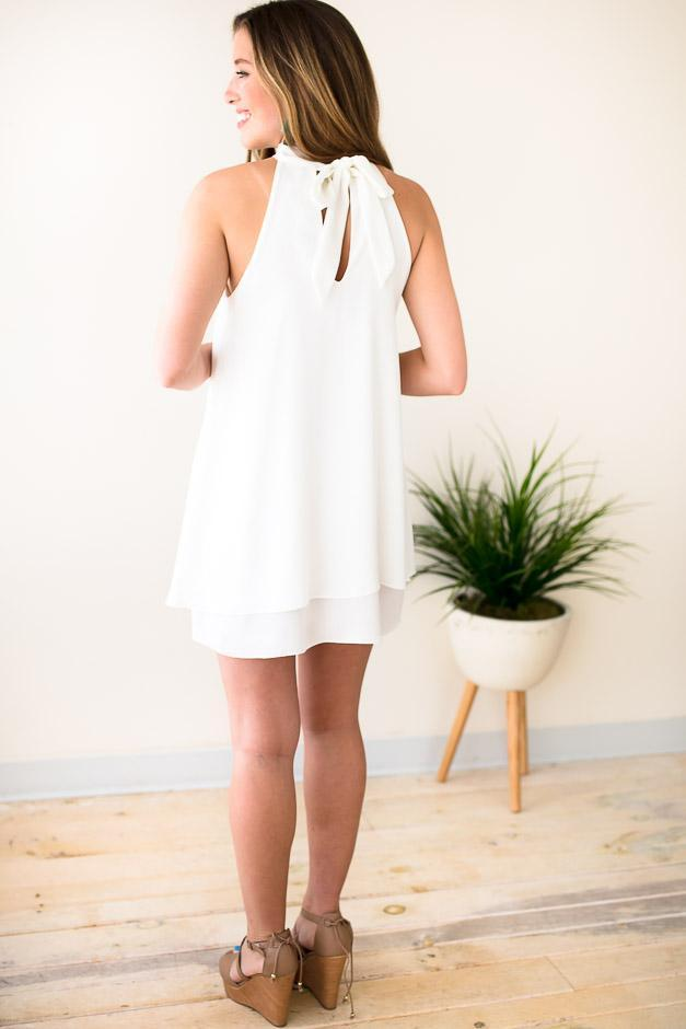 Halter Neck White Dress
