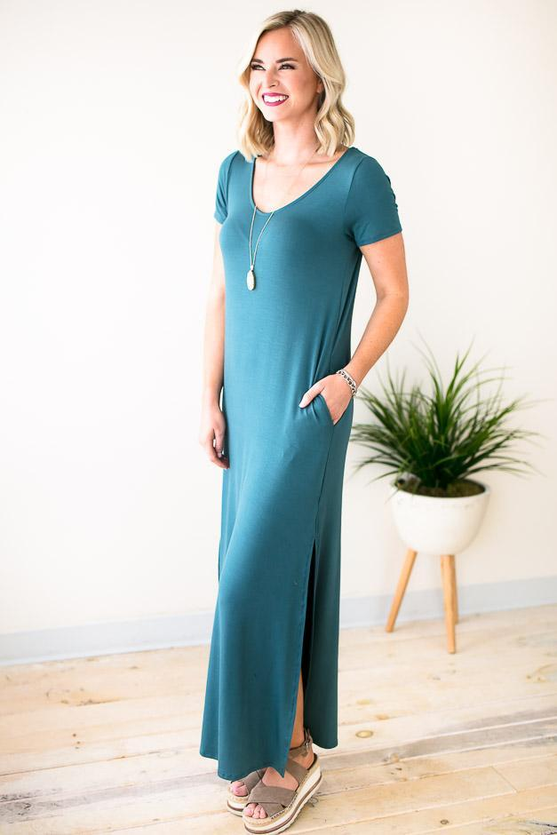 Blue Pocket Maxi Dress With Slit