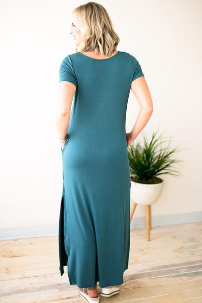 Dresses Pop of Color Maxi Dress w Pockets - Ocean Breeze - Lotus Boutique