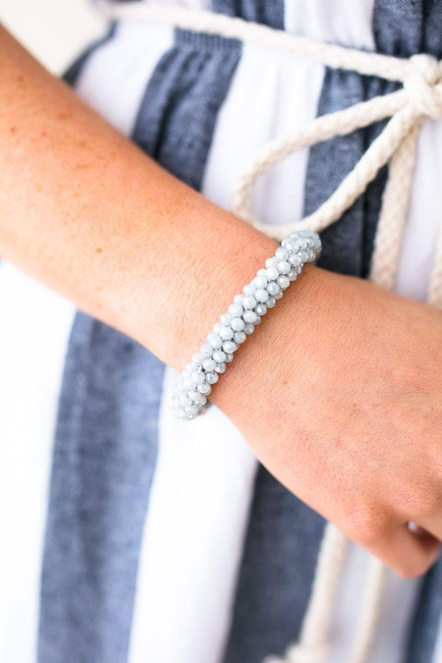 Accessories Stack Roll On Grey Beaded Bracelet - Lotus Boutique