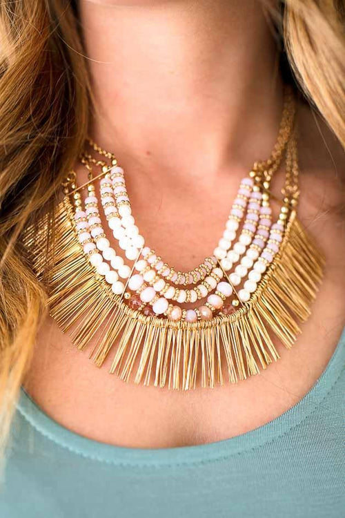 Short Beaded Statement Necklace