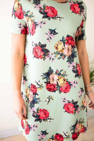 Dresses One Sweet Day Textured Floral Dress - Lotus Boutique