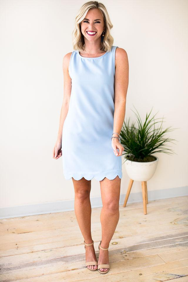 Scallop Hem Blue Dress