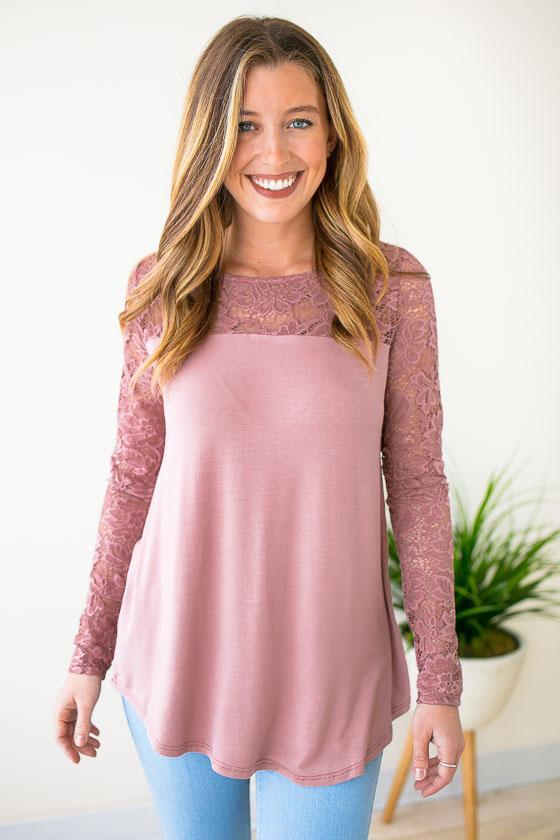 Tops Getting Intricate Lace Detail Mauve Top - Lotus Boutique